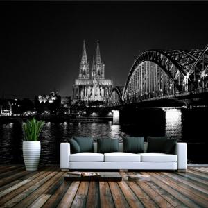Der Kölner Dom in schwarz-weiß als Wandbild