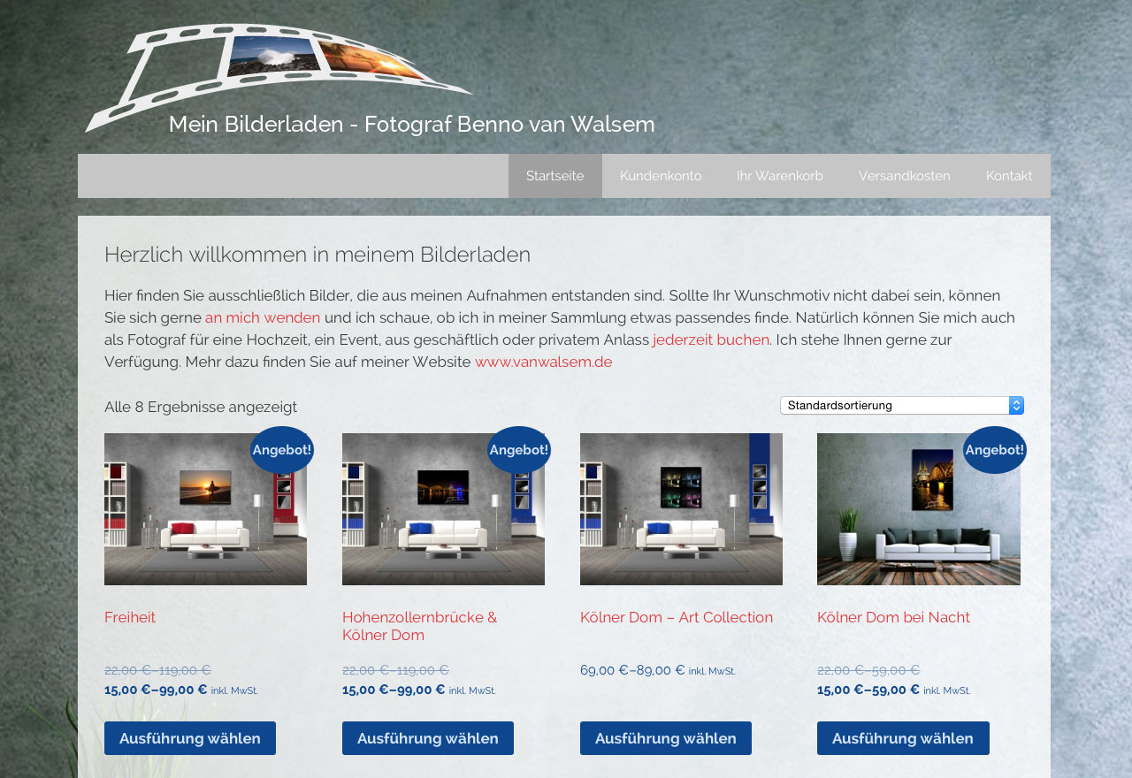 neuer ffnung onlineshop fotografen benno van walsem. Black Bedroom Furniture Sets. Home Design Ideas
